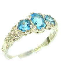 Ladies Solid Sterling Silver Natural Blue Topaz English Victorian Trilogy Ring - Finger Sizes 5 to 12 Available LetsBuySilver, http://www.amazon.com/dp/B005MYUUXQ/ref=cm_sw_r_pi_dp_99Bkrb16WPDC9