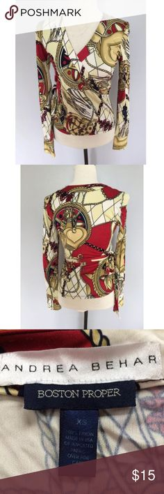 Boston Proper Printed Wrap Long Sleeve Blouse XS Andrea Behar Boston Proper size XS. It is a fun and funky print and has no flaws. Boston Proper Tops Blouses