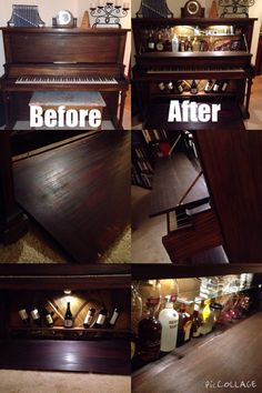 My father made this, he made an old out of tuned piano (that no one used) into an amazing bar. It has doors that can close to make it look normal and to open when you need something to drink, a wine cupboard and a beer or other beverages and wine glass rack. Very unique and easy to do. Piano- Bar