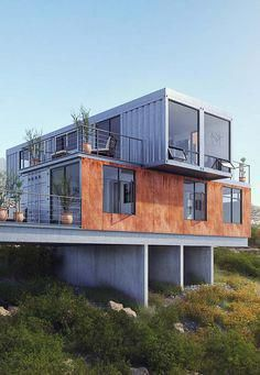 35 Stunning Container House Plans Design Ideas There is a hot new trend: shipping container homes. Basically, you modify and re-purpos. Building A Container Home, Storage Container Homes, Container Van, Container Home Plans, Sea Container Homes, Home Design Plans, Plan Design, Design Ideas, Design Design