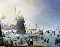 """""""Paisaje de invierno con un molino de viento"""", pintura de Hendrick Avercamp (1585-1634, Netherlands)."""