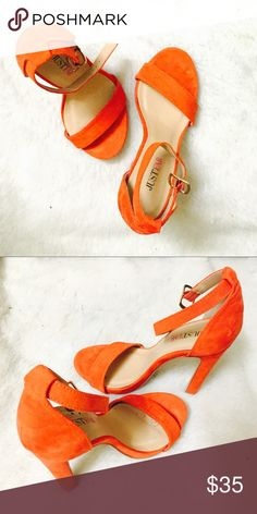 Just fab orange heels Orange heels from JustFab (the official sponsor of project runway!) worn only a few times. They bright orange, slightly darker and more reddish than they appear in the picture JustFab Shoes Heels