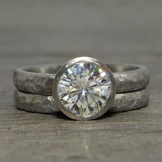 Moissanite Palladium Engagement Ring with by McFarlandDesigns