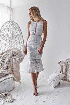 elelgant white lace mermaid prom dresses, cheaptea length homecoming dress with ruffles White Midi Dress, Lace Dress, Women's A Line Dresses, Fishtail Skirt, Homecoming Dresses, White Lace, Designer Dresses, Fashion Dresses, Xl Fashion