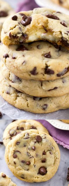 These Cheesecake Stuffed Chocolate Chip Cookies from Sugar Spun Run come out of the oven nice and soft, chewy, totally delicious and filled with a cheesecake surprise! They are so easy to make and go perfectly with a tall glass of milk!