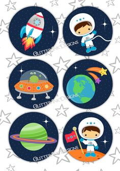 Space Rocket party pdf printable outer space door GlitterInkDesigns