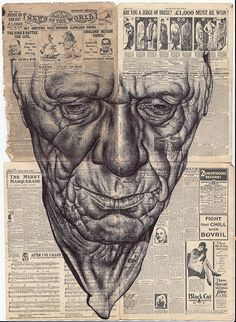 MARK POWELL is a London-based artist who uses Biro pens to create gracefully rendered portraits of the elderly. His canvas is century old stamped envelopes,  newspapers highlighting events from the past, vintage sheet music, or authentic citizenship papers. The faces he draws have a haunting, yet touching quality that offer a mysterious story.