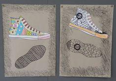 Oppilaiden tehtävänä oli suunnitella omat tennarit niin, että he käyttivät niissä jotain zentagle-kuviota.