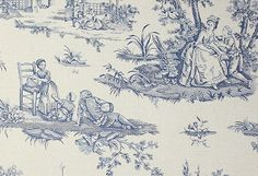 Courting Toile de Jouy Wallpaper A traditional small scale toile de jouy wallpaper in blue on a mottled beige background