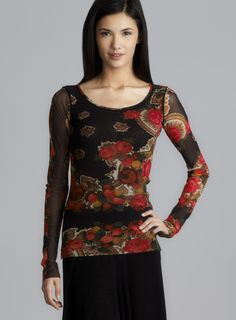 Long Sleeve Floral Print Mesh Top