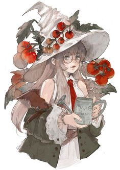 If she's a botany witch does that make Fantasy Character Design, Character Design Inspiration, Character Art, Comic Anime, Anime Art, Pretty Art, Cute Art, Anime Witch, Arte Sketchbook