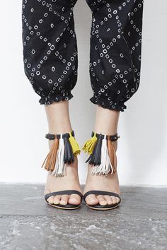 Ulla Johnson Spring 2015 Collection - Fatima Jumpsuit Khalida Pant with Tassel Strappy Heels