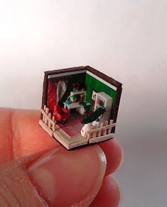 It's a 288 scale roombox that measures 11 x 11 x . Miniature Dollhouse, Baby Steps, Miniture Things, Stop Motion, Doll Houses, Dollhouse Furniture, Minis, Watermelon, Modeling