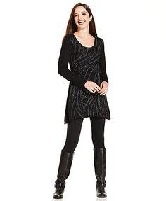 Style&co. Sweater, Long-Sleeve Embellished Printed Tunic