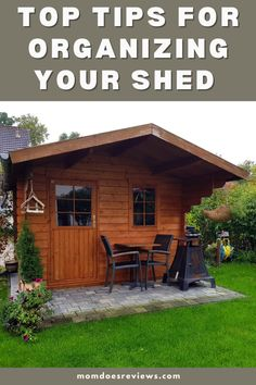 Top Tips For Organizing Your Shed or Garage Shed Floor, Organizing, Organization, Lawn Furniture, Tile Saw, Off The Wall, Adjustable Shelving, Home And Living, Light Colors