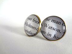 Sherlock Holmes literary cuff links Holmes and Watson by bookity, $35.00