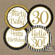 Black & Gold Glitter 30th Birthday Cupcake Toppers - Thirtieth Bday Party Printable - DIY 30th Birthday Favor Tags or Stickers - BGL
