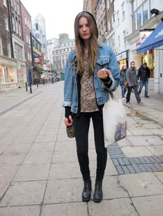 Lace + denim + chunky boots