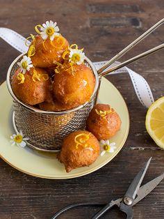 Lemon Ricotta Doughnuts with Honey Chamomile Syrup | spicyicecream