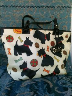 Dooney and Bourke Ivory and Black Scottie Dog Tote Free Shipping | eBay
