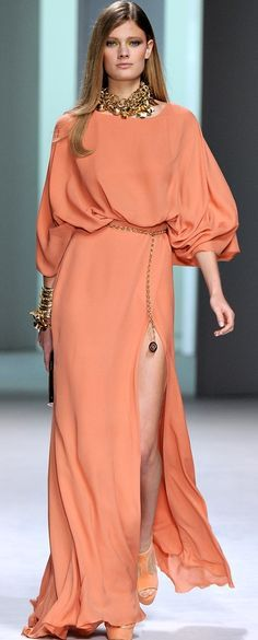 peach maxi dress @roressclothes closet ideas women fashion outfit clothing style apparel Elie Saab