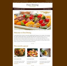 Storesletter HTML email-marketing template to One Email Newsletter with Template The Ruby E-mail Fine Business Exclusive Email Creative Ango Mail – Multipurpose Skyline – Newsletter with Template Daily Okay Business – Multi Usage Superstar Express … Email Templates, Newsletter Templates, Newsletter Design, Email Newsletters, Showcase Design, Fine Dining, Sample Resume, Food, Website