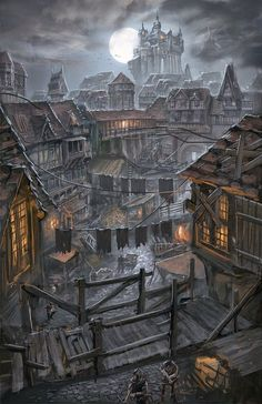 castle city capitol street slums guard fighter solider crossbow medieval alley landscape location environment architecture | Create your own roleplaying game material w/ RPG Bard: www.rpgbard.com | Writing inspiration for Dungeons and Dragons DND D&D Pathfinder PFRPG Warhammer 40k Star Wars Shadowrun Call of Cthulhu Lord of the Rings LoTR + d20 fantasy science fiction scifi horror design | Not Trusty Sword art: click artwork for source
