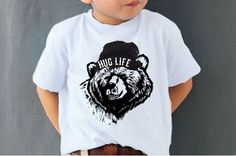 *THE WILD WEST COLLECTION*Our 'HUG LIFE' Organic Grizzly tee on 100% Organic cotton in White.