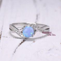 Light Blue Opal Wedding RingOpal RingSilver by BeautifulWithYou