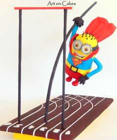 - Gravity defying Cake…  Minion Superman on Pole Vaulting… Ιt is about a real gravity defying cake (cake in the air)!!!! The cake involves a high percentage of difficulty as the hero holds onto a pole with one hand (right hand) and his posture is neither horizontal nor vertical. As seen in the photo the slant is 45 degrees and there is no styrofoam at the bottom part of the hero's body to help stability and give the illusion of the slant!! The cake touches onto a material appropriate to ...