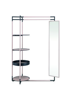 Bak Valet Stand mirror design Ferruccio Laviani. Valet stand with a lacquered steel frame upholstered with leather and slightly padded leather-upholstered steel shelves.