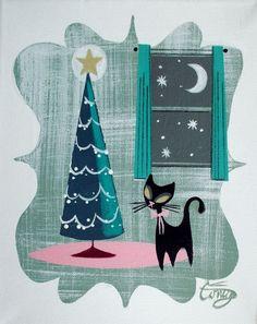 EL GATO GOMEZ PAINTING RETRO 1950S KITSCH MID CENTURY MODERN CHRISTMAS CARD CAT #Modernism