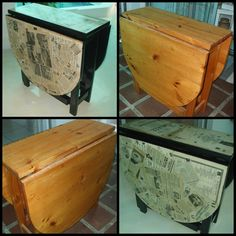 Upcycled old drop leaf pine table. Decoupaged newspaper and sheet music dating back to 1950's, sealed with polyurethane.  VOILA a new table !