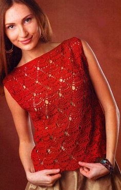 Stylish Easy Crochet: Crochet Vest For Women - Beautiful Crochet Stitch. Two straight pieces joined at shoulder and side. The stitch and the colour set it up. Crochet Bra, Crochet Woman, Crochet Blouse, Easy Crochet, Crochet Clothes, Crochet Stitch, Free Crochet, Crochet Crafts, Crochet Tank Tops