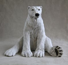Sitting Polar Bear - ceramic stoneware with stain and oxide glaze by Wendy Love Hinds