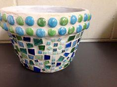 Handmade Nautical Mosaic terracotta planter pot   on Etsy, $37.00