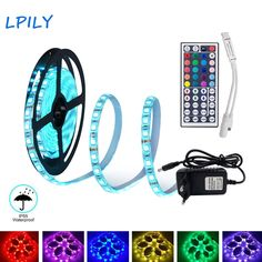 LED Strip 2835 5050 led strip light non waterproof RGB strip led ribbon diode tape with IR remote and DC adapter. Yesterdays price: U Led Strip, Strip Lighting, Remote, Lights, Tape, Ribbon, November 23, Electronics Gadgets, Bluetooth Headphones