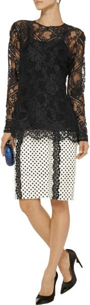 Oscar De La Renta Lace Top in Black