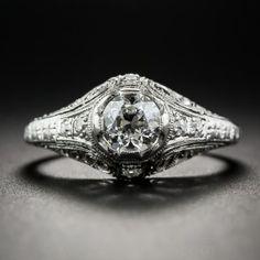 0,55 Carat Platinum Art Deco Diamond Ring