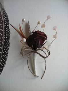 NICK  Chocolate Rose with Feathers by DeborahLINKDesigns on Etsy, $14.75