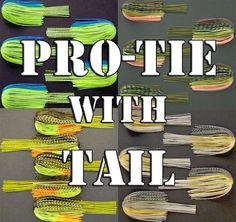 Pro-tie WITH TAIL Bass jig, spinnerbait, buzzbait fishing lure skirts. Qty: 5 #SkirtsPlus