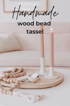 Wood beads are so popular right now, which is why I love this simple DIY wood bead garland with tassels. This easy craft can instantly add a little bit of farmhouse charm to any room in your home. Decor Crafts, Easy Crafts, Diy Home Decor, Diy And Crafts, Wood Bead Garland, Beaded Garland, Simple Diy, Easy Diy, Dining Room Table Centerpieces