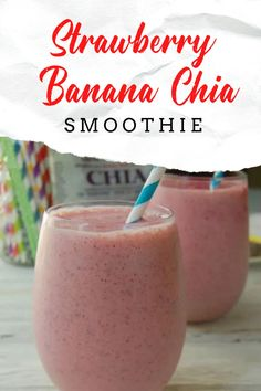 Strawberry Banana Chia Smoothie is a fruit smoothie recipe with health benefits! A great way to start the day or as a healthy snack any time. Chia seeds help give this fruity smoothie a nutritional boost. Fruit Smoothies, Healthy Smoothies, Healthy Drinks, Healthy Snacks, Healthy Recipes, Healthy Eats, Smoothie Recipes For Kids, Fruit Recipes, Drink Recipes