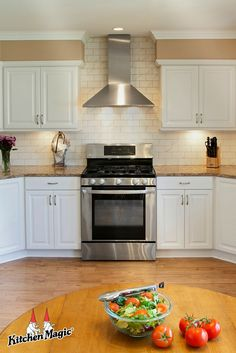 """Simplicity is the ultimate form of sophistication. Kitchen Magic, New Kitchen, Kitchen Ideas, White Cabinets, Kitchen Cabinets, Subway Backsplash, Before After Kitchen, Cambria Countertops, Kitchen Storage Solutions"