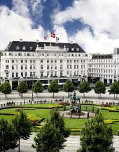 Hotel D'Angleterre, Copenhagen. Spent one Christmas here. Skating around the rink on the circle out front.