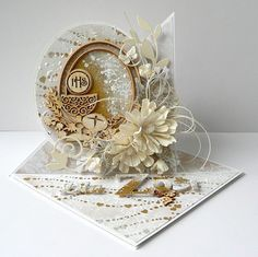 Blog Craft Passion: Komunijne trojaczki / Communion cards First Communion Cards, Paper Art, Paper Crafts, Baptism Gifts, Exploding Boxes, Easel Cards, Kirigami, Flower Cards, Cute Cards
