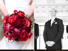 Luscious all-red bridal bouquet with anemones and peonies | The Blackstone, A Renaissance Hotel- Downtown Chicago | Miller + Miller Wedding Photography