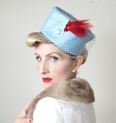 1960's Hat Birdcage Veil VINTAGE Hat BURLESQUE by HighHatCouture, $40.00