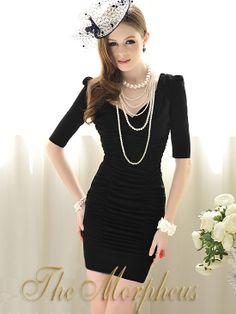 Black V Neck 3/4 Sleeve Ruched Shoulder Celebrity Pencil Dress