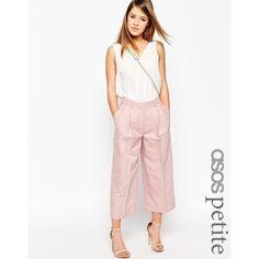 ASOS PETITE Premium Linen-Mix Suit Culottes ($61) ❤ liked on Polyvore featuring pants, capris, petite, pink, lined pants, white linen trousers, button fly pants, white linen pants and linen pants